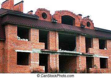 box., unfertig, haus, groß, four-story, brick., rotes