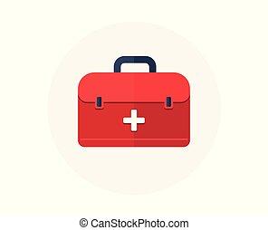 box., urgence, monde médical, kit., sac, vecteur, santé, aide, icon., premier, soin