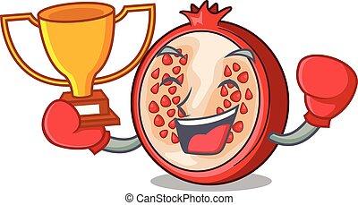 box, vítěz, karikatura, čerstvý, granátové jablko, a, svůj, napolo
