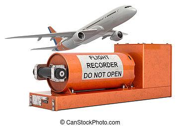 box., volo, interpretazione, registratore, nero, aeroplano, dati, 3d