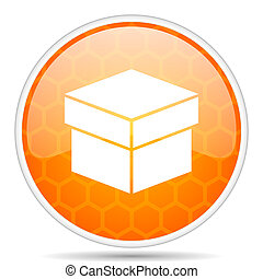 Box web icon. Round orange glossy internet button for webdesign.