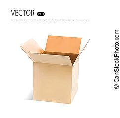 box., wektor, illustration., tektura