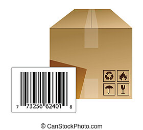 box with a barcode illustration design over a white...