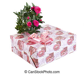 box with a gift and bouquet of roses