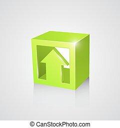 Box with arrow, green
