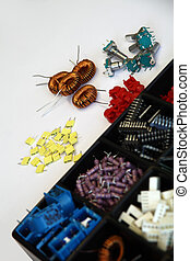 assortment of electronic components