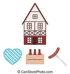 Box with beer, fried sausage, heart of the festival, bavarian cottage. Oktoberfest set collection icons in cartoon style vector symbol stock illustration web.