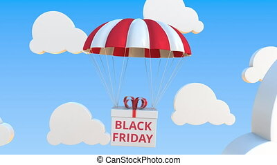 Box with BLACK FRIDAY text falls with a parachute. Loopable conceptual 3D animation