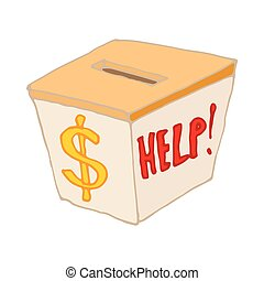 Box with cash donations icon, cartoon style