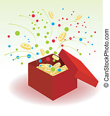 Box With Coins - Opened red box with gold coins and flying...