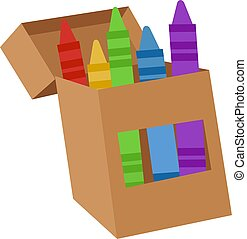 Box with crayons, illustration, vector on white background.