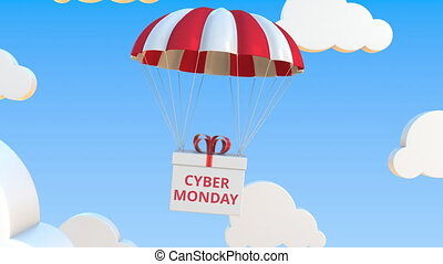 Box with CYBER MONDAY falls with a parachute. Loopable conceptual 3D animation
