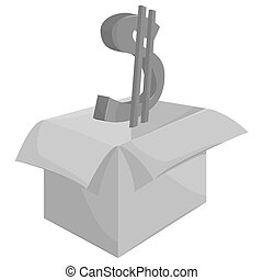 Box with dollar sign icon, black monochrome style