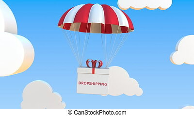 Box with DROPSHIPPING text falls with a parachute. Loopable conceptual 3D animation