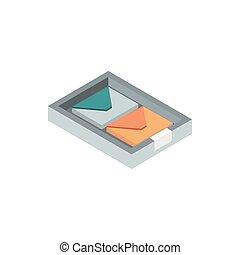 box with envelopes correspondence postal mail isometric