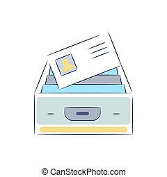 Box with file documents icon vector.