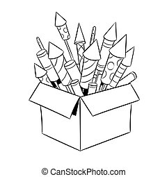 Box with fireworks coloring book vector
