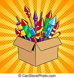 Box with fireworks pop art vector illustration