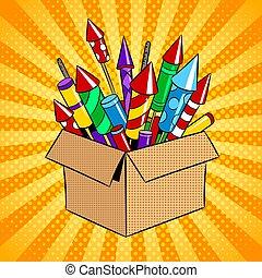 Box with fireworks pop art vector illustration