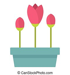 Box with flowers icon, flat style