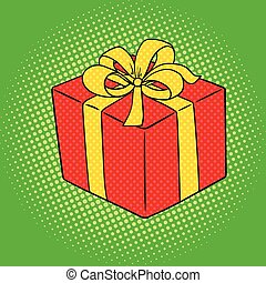 Box with gift pop art style vector illustration