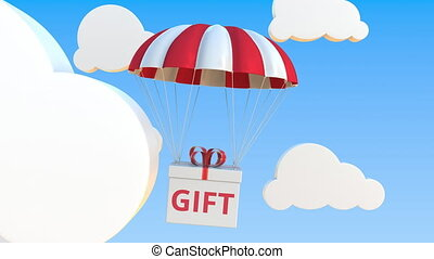 Box with GIFT text falls with a parachute. Loopable conceptual 3D animation