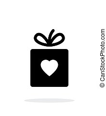 Box with heart iicon on white background.