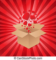 Box With Hearts On Sunburst Background, Vector Illustration
