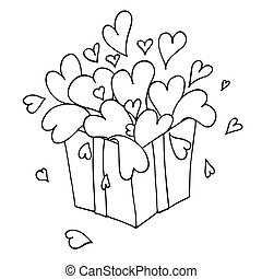 Box with hearts. Love gift