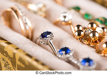 box with jewelery. Rings and pendants. - box with rings. ...