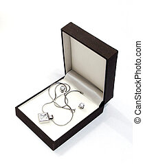 box with jewellery against the white background