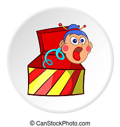 Box with jumping toy icon, cartoon style
