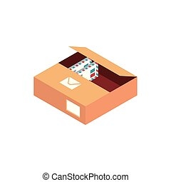 box with letters envelope correspondence postal mail isometric