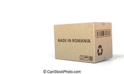 Box with MADE IN ROMANIA caption. 3D animation - Falling box...