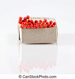 box with matches over a white background