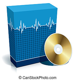 Blue blank 3d box with medical software and CD.