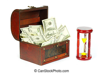 box with money and sand-glasses on a whiteness