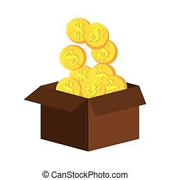 box with money coin