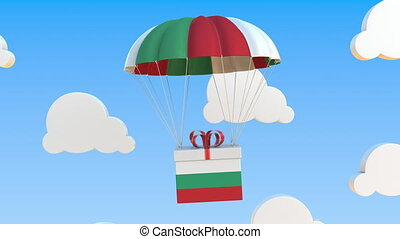 Box with national flag of Bulgaria falls with a parachute. Loopable conceptual 3D animation