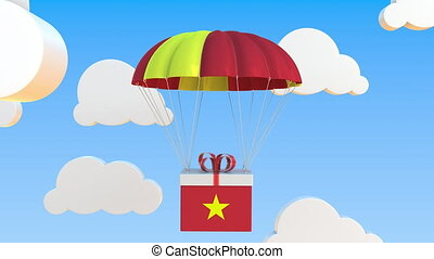 Box with national flag of Vietnam falls with a parachute. Loopable conceptual 3D animation