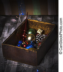 box with New Year old toys - Old Wooden box with New Year...