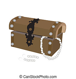 box with pearl - vector