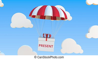 Box with PRESENT text falls with a parachute. Loopable conceptual 3D animation