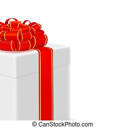 box with red ribbon on white background