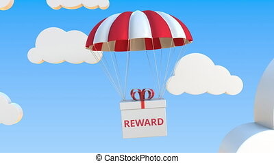 Box with REWARD text falls with a parachute. Loopable conceptual 3D animation