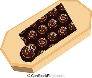 Box with round chocolates