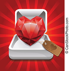 box with ruby in shape of heart and leather label -vector ...