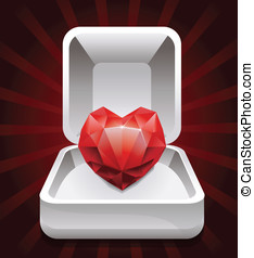 box with ruby in shape of heart