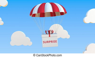 Box with SURPRISE text falls with a parachute. Loopable conceptual 3D animation