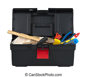 Box with tool on white background